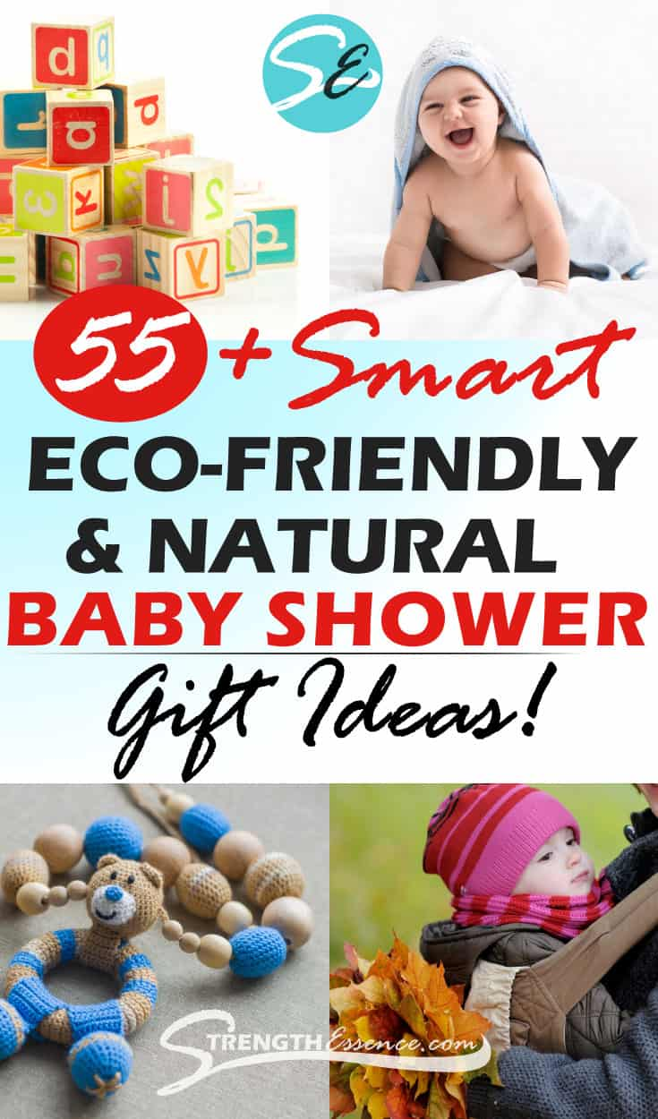 SMART list of 55+ Eco-friendly baby shower gifts & natural organic baby products! This list includes socially conscious & sustainable baby gifts for new green parents. Great gift ideas for friends or creating your own natural, organic, eco-friendly baby registry! #natural baby #baby #babyshowergifts #babyneeds #naturalbabycare #naturalbaby