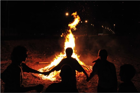 Halloween forgotten spiritual meaning / Samhain ritual of dancing around bonfires