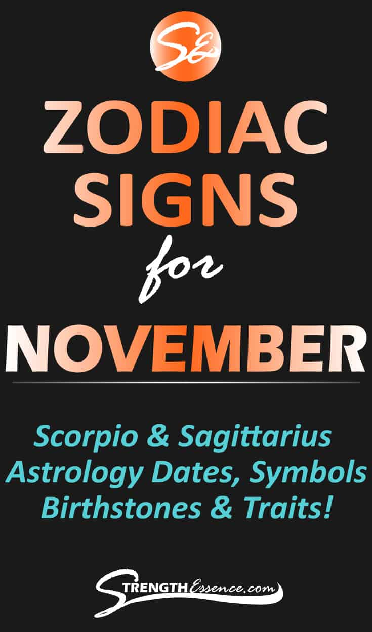 Are you or someone you know born in November and you'd like to know the NOVEMBER ZODIAC SIGN? Click to discover November astrology dates, signs, symbols & traits! #zodiac #zodiacsigns #zodiacsignsnovember #astrology #astrologysigns #birthstones #birthstonejewelry #astrological #astrologicalsigns