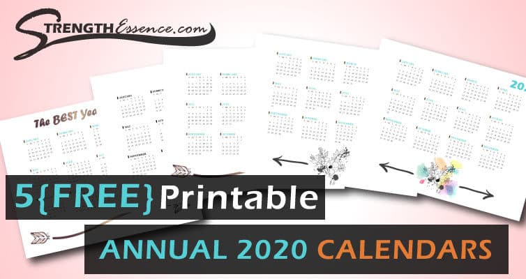 free printable 2020 annual at a glance calendar