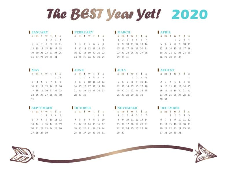 FREE Printable 2020 Calendar Template Download PDF - Tribal Arrow Design