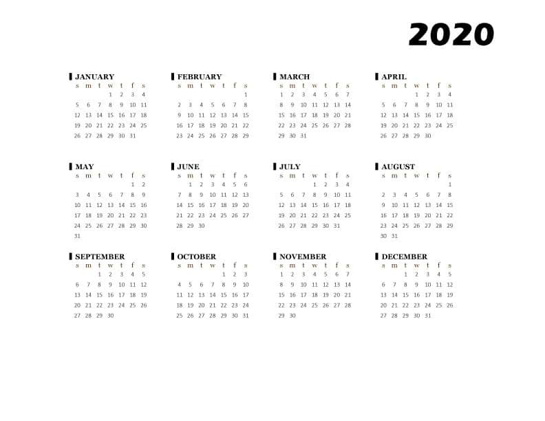 FREE Printable Basic Black One Page Calendar 2020 PDF Downloadable Template