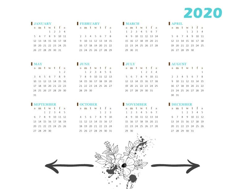 FREE Printable 2020 One Page At-A-Glance Calendar - Boho Floral Flowers
