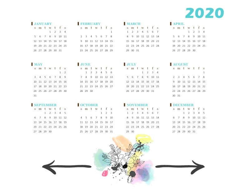 FREE 2020 Calendar Printable PDF Template - Watercolor Flower Design