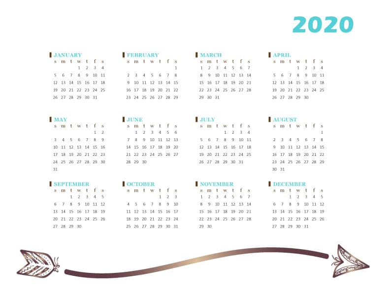 FREE Printable 2020 One Page Calendar PDF Download - Tribal Arrow Design