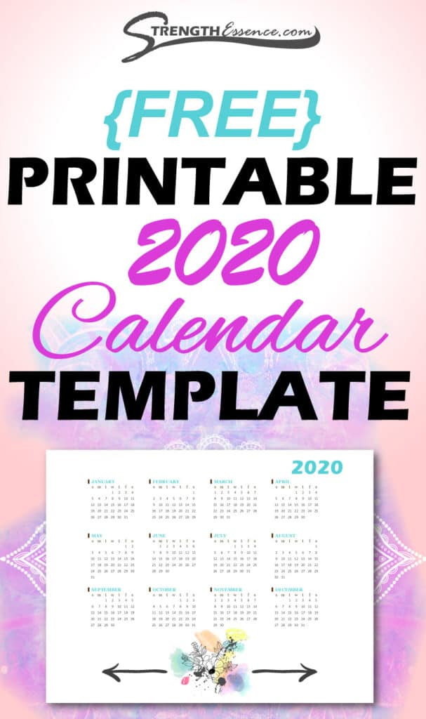 FREE Printable 2020 Calendar PDF Template Download