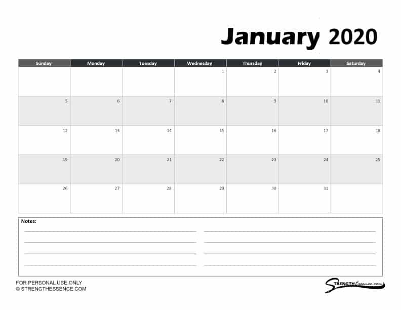FREE Printable Online January 2020 Calendar With Notes PDF Template
