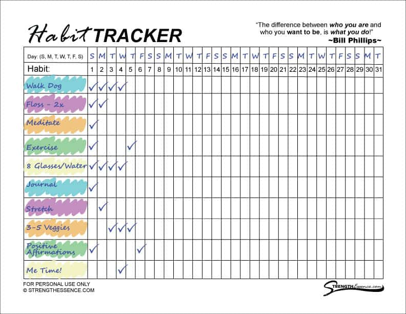 Free Printable 2020 Habit Tracker Pdf Instant Download Strength Essence