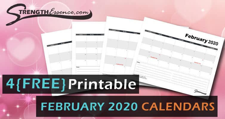 FREE Printable Monthly February 2020 Calendar Template PDF Download