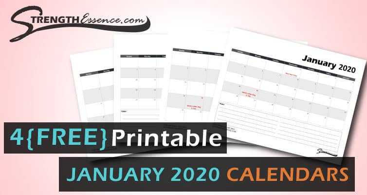 FREE Printable Monthly January 2020 Calendar Template PDF Download