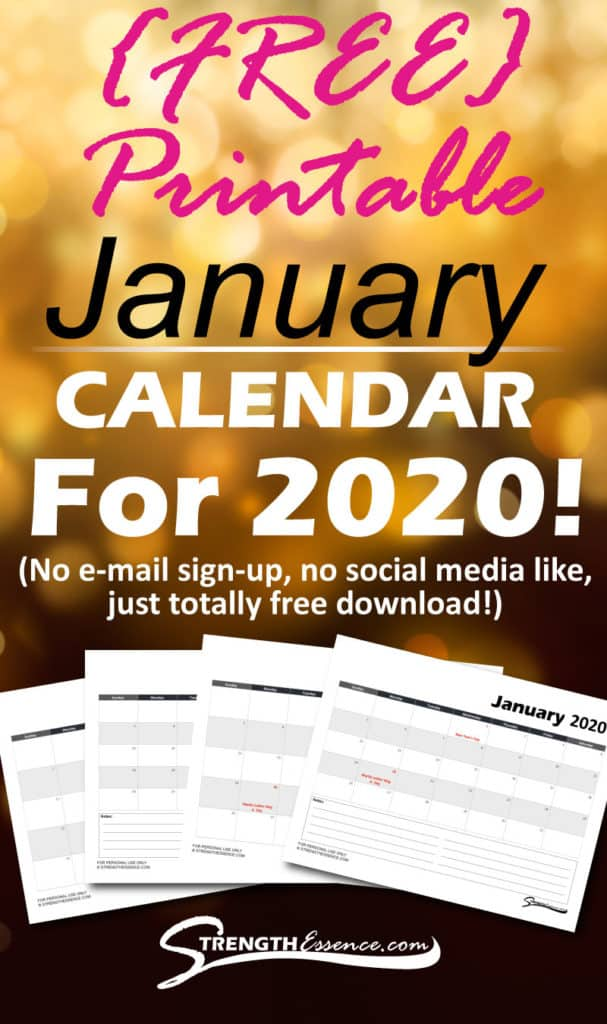 FREE 2020 January Calendar PDF Templates for Downloading or Printing!