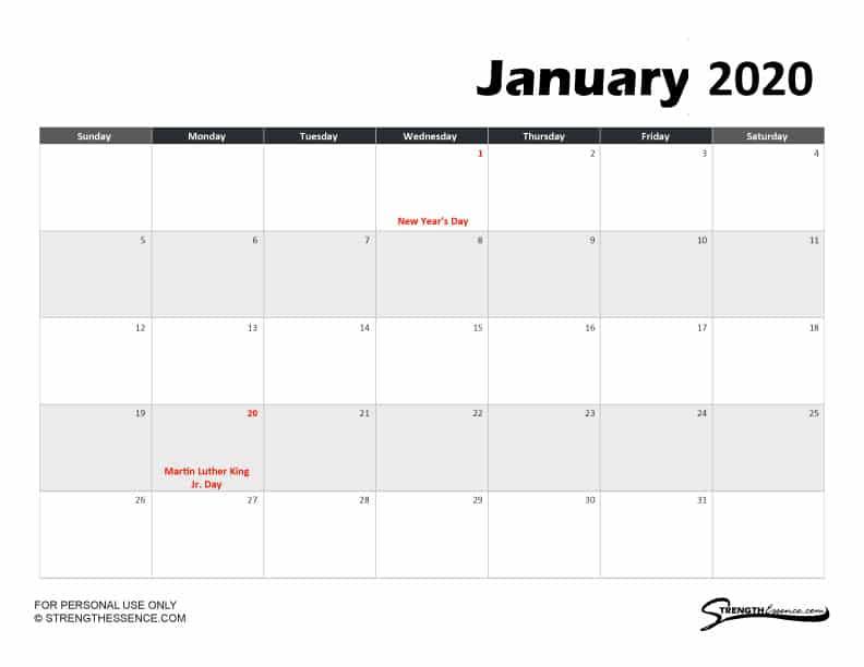 free printable calendar template january 2020 with holidays