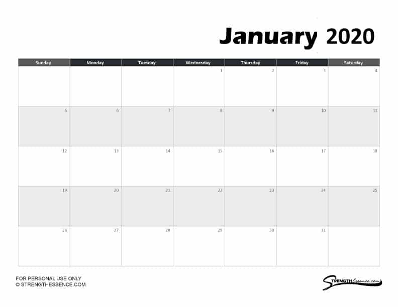 FREE Printable Month of January 2020 Calendar basic black with large boxes