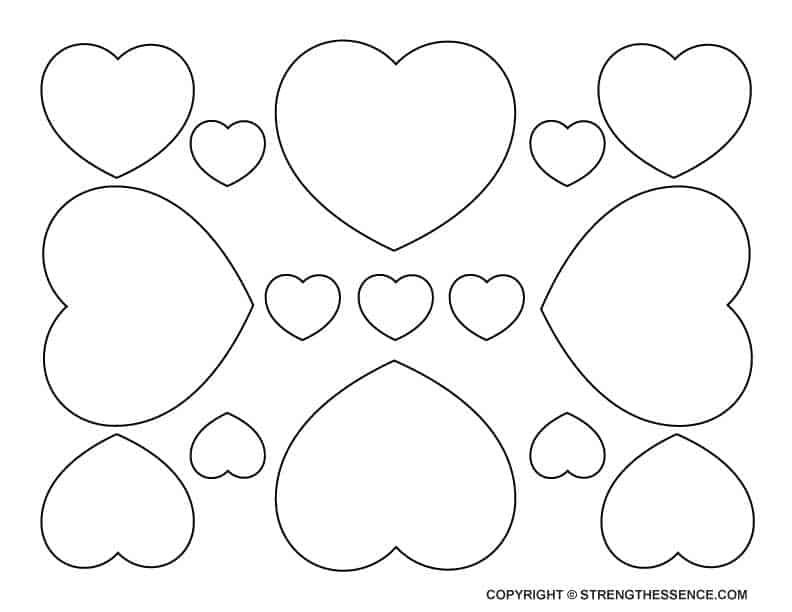 FREE printable small medium & large hearts template
