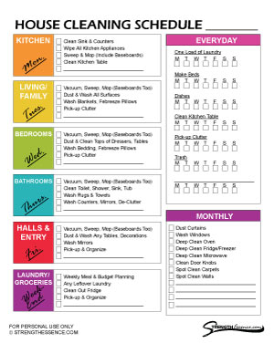 FREE Printable Cleaning Schedule Checklist PDF Template