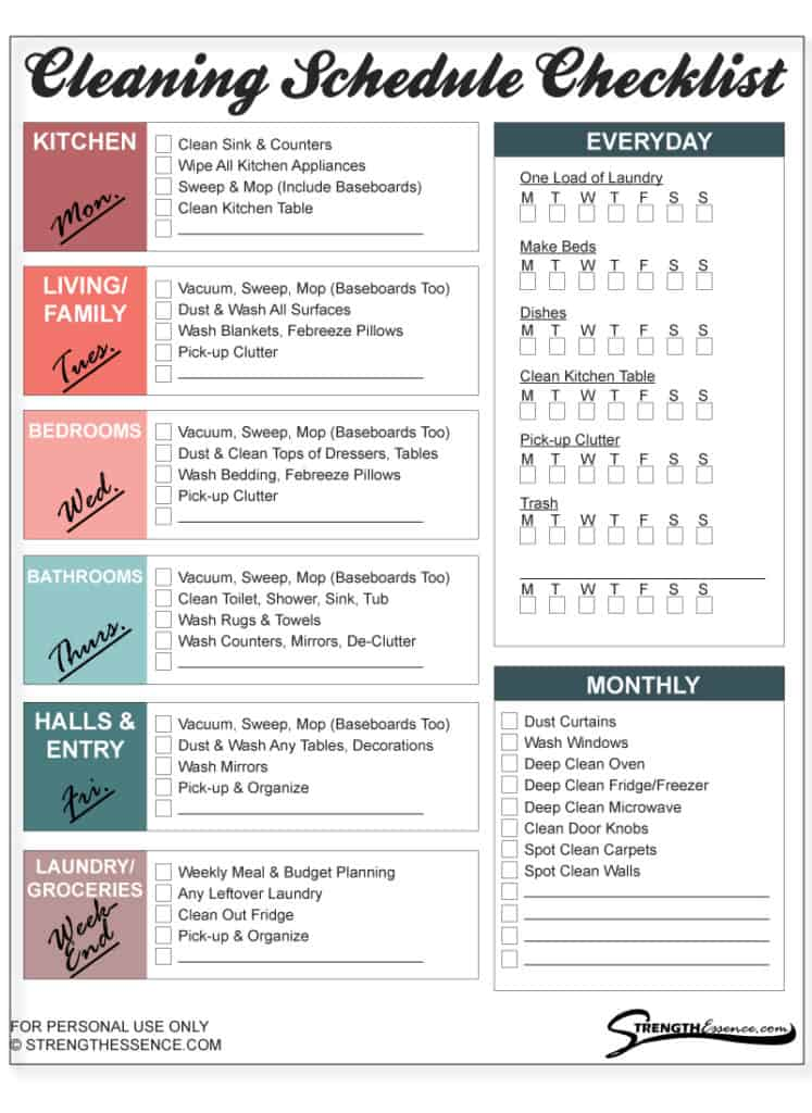 free printable cleaning schedule checklist PDF