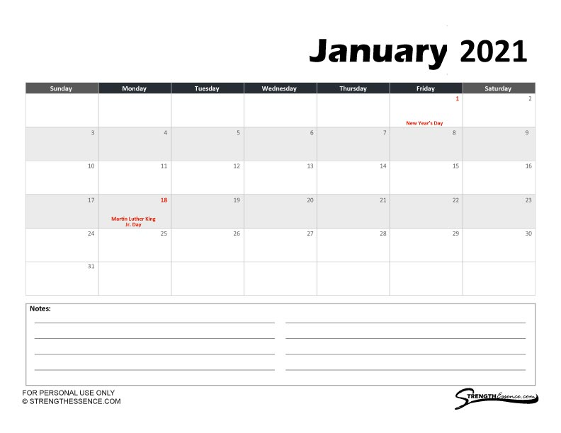 january 2021 calendar with US holidays notes