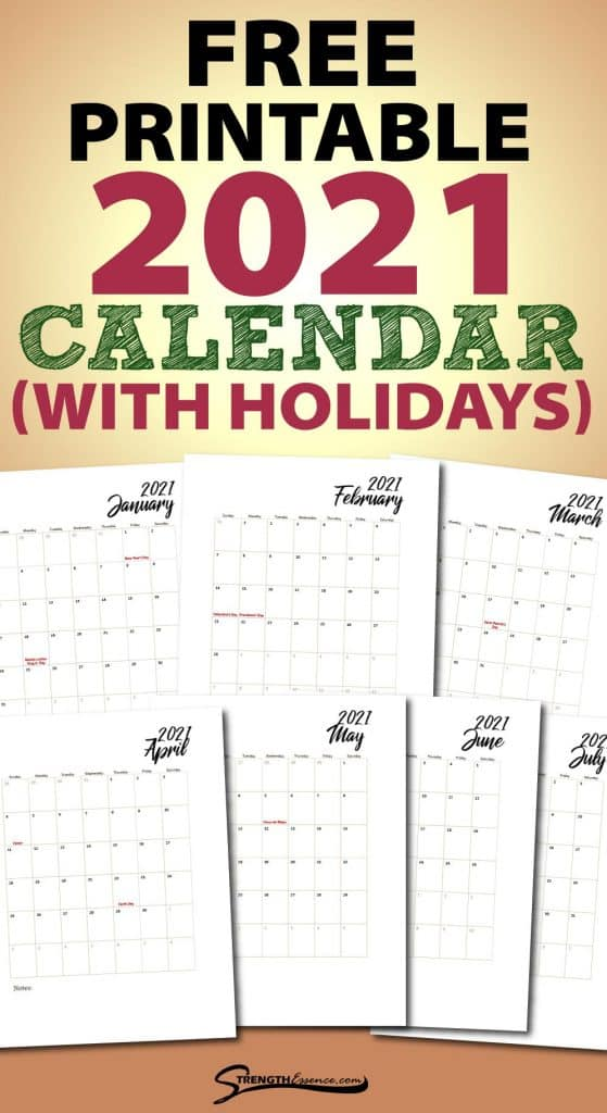 free printable 2021 calendar with holidays notes