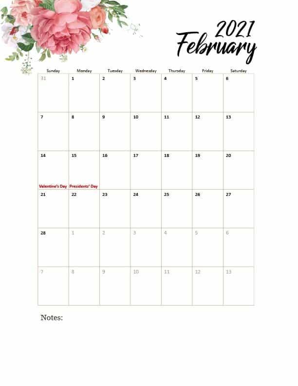 free floral printable calendar 2021 pdf with holidays