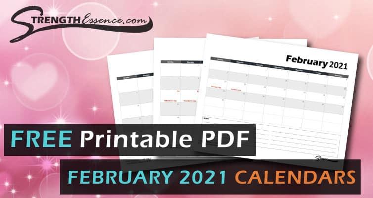 2021 february calendar template free printable pdf