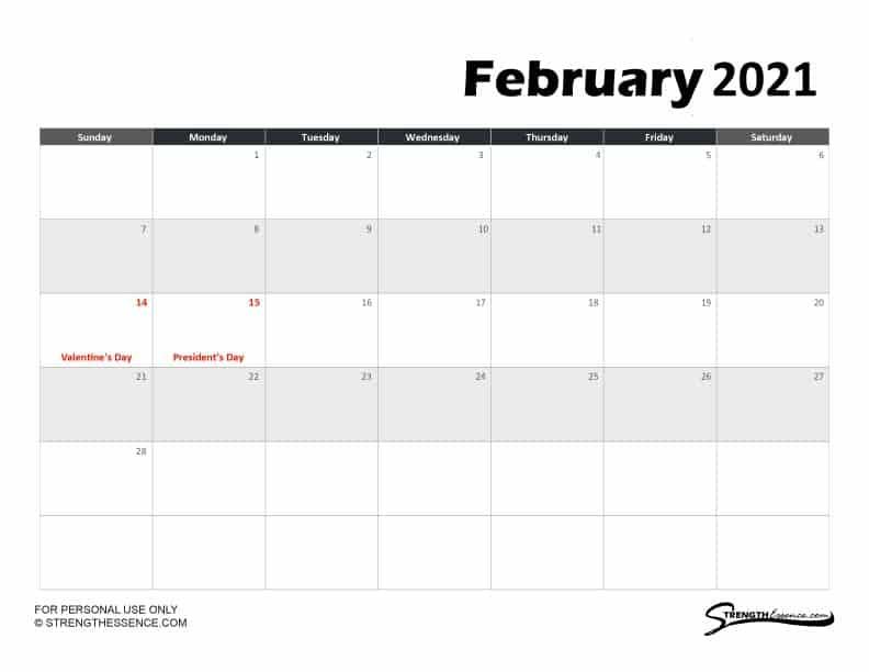 february calendar pdf with holidays