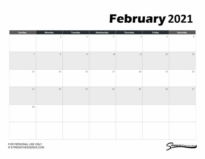February Calendar PDF