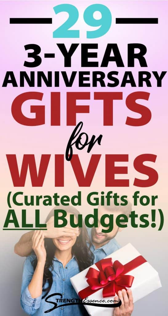 3 year anniversary gift ideas for wife text overlay