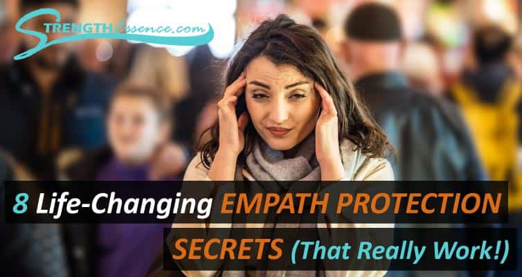 overwhelmed empath in crowd with 8 life-changing empath energy protection secrets text overlay