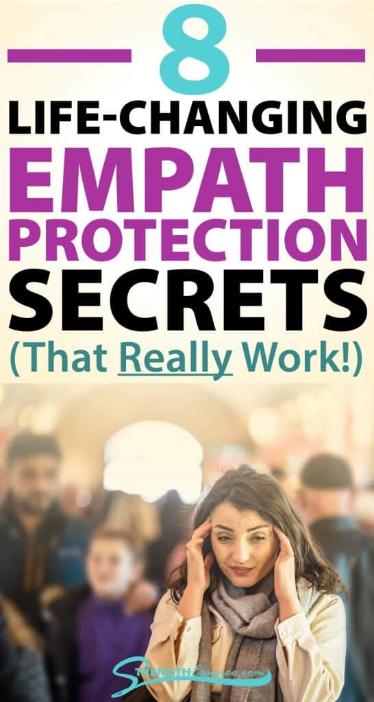 overwhelmed in crowd empath with 8 life-changing empath protection secrets that really work text overlay