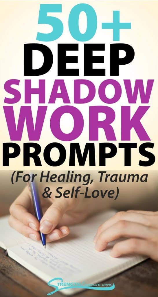 person writing in journal with 50+ deep shadow work prompts (for healing, trauma & self-love) text overlay